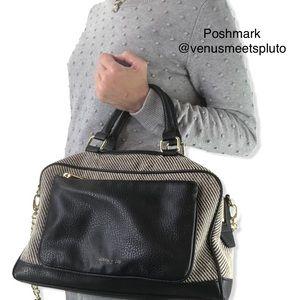 Olivia + Joy Linen Tweed Satchel Handbag Purse